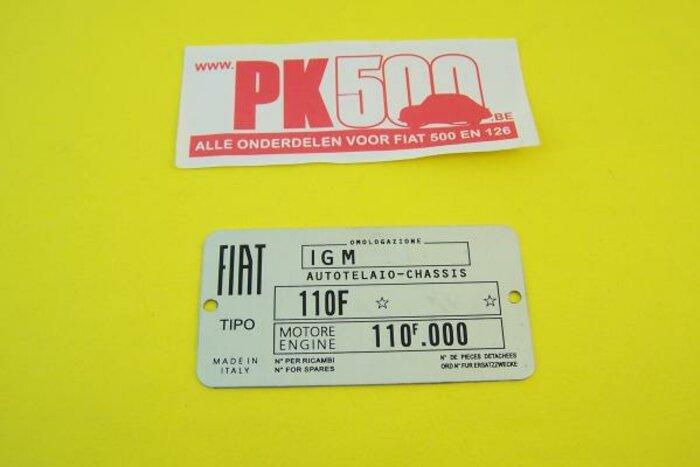 Plaquette d'identification Fiat 110F