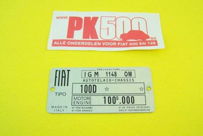 Plaquette d'identification Fiat 100D