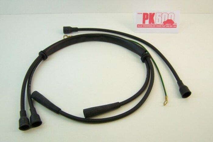 Câbles d'allumages bobine droite, sil.noir Fiat500FLR