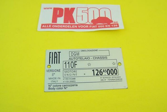 Plaquette d'identification Fiat 110F Fiat126A5