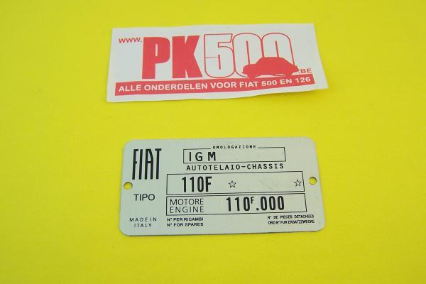 Identificatieplaatje Fiat 110F