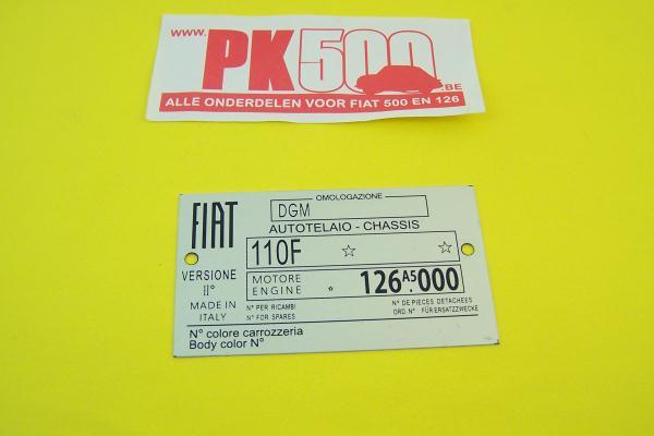 Identificatieplaatje Fiat 110F Fiat126A5
